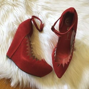 Jeffrey Campbell Shoes - Jeffrey Campbell Red Suede Audrey Wedges