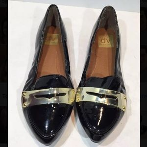Black gold dolce vita loafers 6.5 patent leather