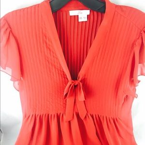 Joie red silk bow blouse size XS