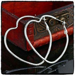 SALE Jewelry - Heart-shaped Hoop Earrings 925 Stamped