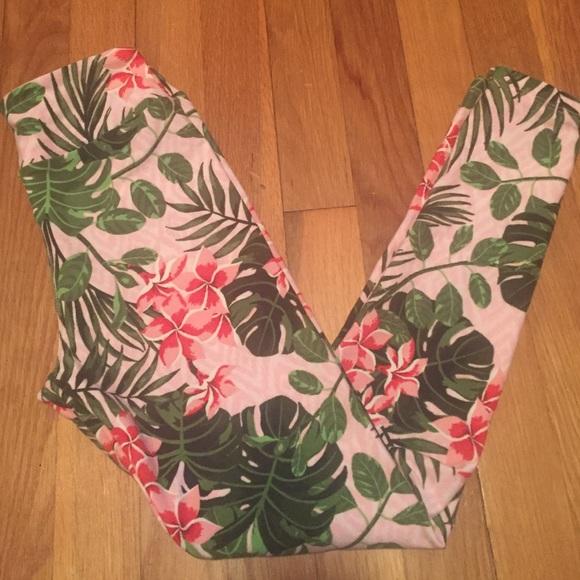 0fde753034f82 LuLaRoe Pants | Nwot Hawaiian Pink Floral Tween Leggings | Poshmark