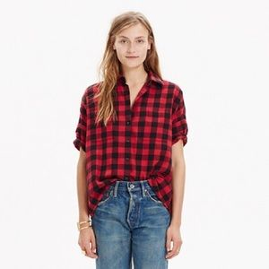 Madewell Courier Top in Red Plaid