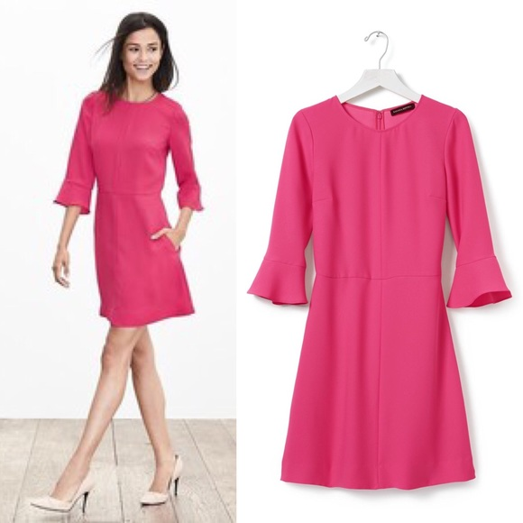 Pink Flutter Sleeve Dress