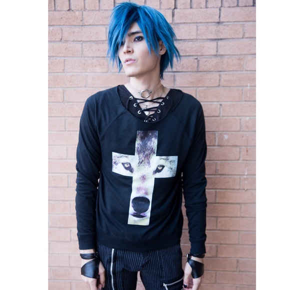 Urban Outfitters Sweaters - Wolf Cross Black Sweater Cool Edgy Longsleeve Goth