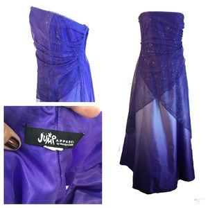 Purple Starlight Sparkle Strapless Ombré Dress 16
