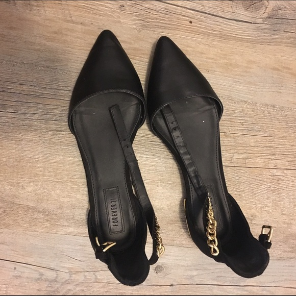 fcc4ddf5b5a3 Forever 21 Shoes | Black Flats With Gold Chain Ankle Strap | Poshmark