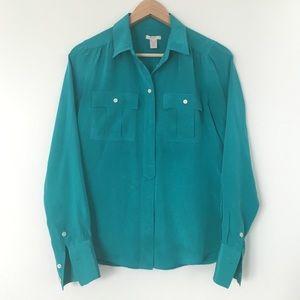 J. Crew 100% silk Blythe teal blouse