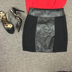 Silence + Noise Faux leather panel mini skirt