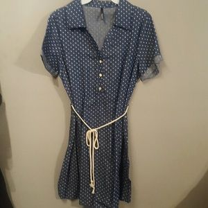 Cute polka dot denim dress.