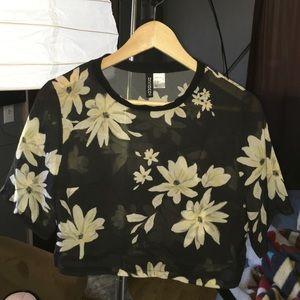 Sheer Floral Crop Top