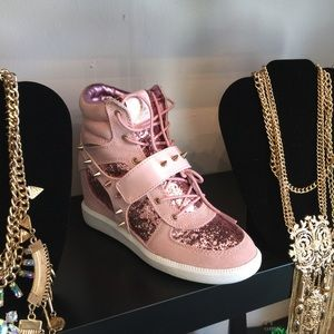 Shoes - Pink Spiked Wedge Sneakers