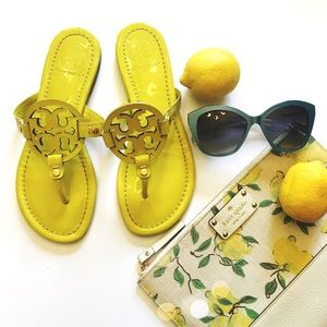 Tory Burch Shoes - Tory Burch Yellow Patent Miller Sandals