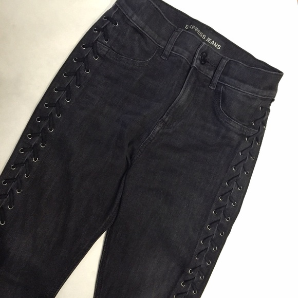 8dad10a7aaa3a Express Denim - EXPRESS Jeans High Waisted Lace-Up Black Legging