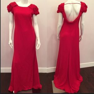 JS Collections Dresses & Skirts - Red shoulder ruffle gown