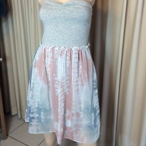 Kimchi Blue Urban strapless tie dye ruffle dress