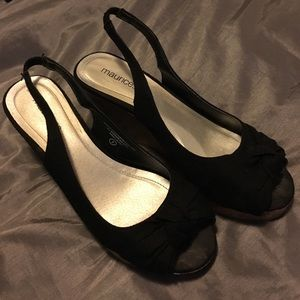 Black peep toe wedges from Maurice's size 8