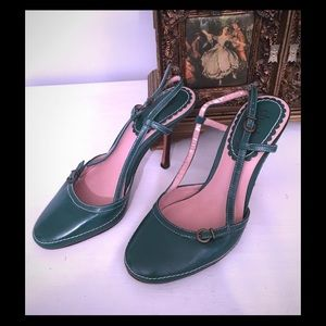 ✂️✂️Clearance, Green leather sling backs