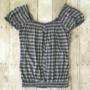 Cute Grey Stripe Top with Elastic Gathered Neck