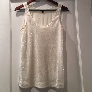 Express Tops - Express White Sequins Tank Top