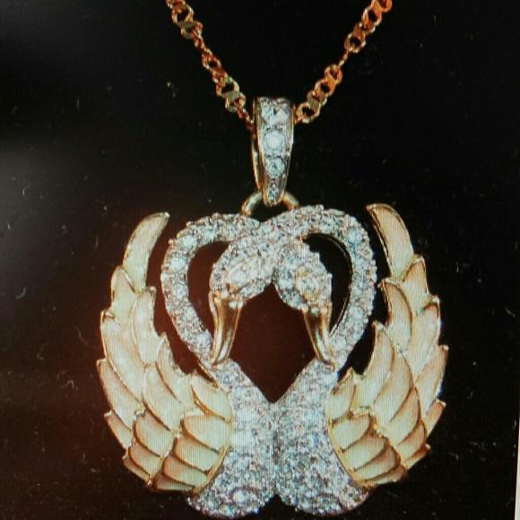 d13e9c304056a Nolan Miller Double Swan Necklace -vintage.