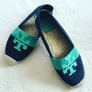 Tory Burch logo canvas espadrille turquoise