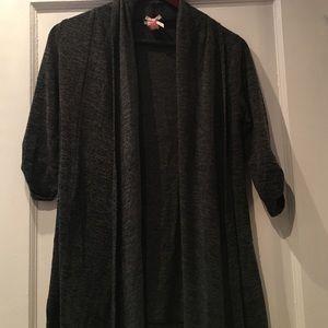 Derek Heart Sweaters - Gray Lightweight Short Sleeve Cardigan