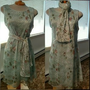 Teddi Dresses & Skirts - Vintage Lace Dress & Scarf