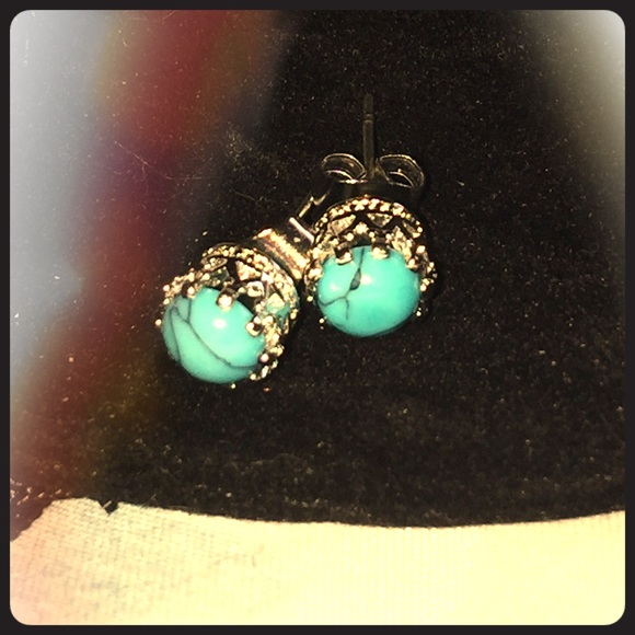 order kingman to silver green sterling bezel pin gypsy genuine set aaa blue made turquoise earrings boho stud
