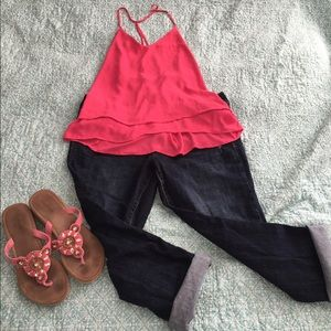 Pink tiered flowy tank top