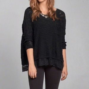 Abercrombie & Fitch Sweaters - BLACK SLOUCHY SWEATER WITH LACE