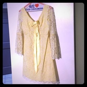 Vintage 1960's Yellow Lace Go-Go Dress