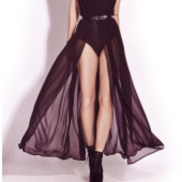 6fc150f87ea31 Forever 21 Dresses   Skirts - Forever 21 Black Open Front Maxi Skirt