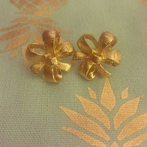 Lilly Pulitzer Gold Tone Metal Bow Earrings