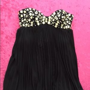 Size 2, Black Prom Dress w Pleats