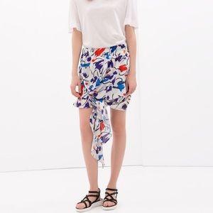Zara printed tie skirt