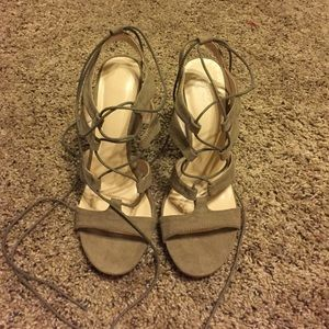 Lulu's Shoes - Taupe Lace up heels
