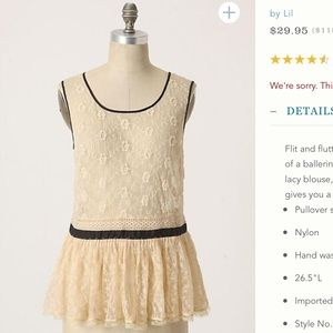 Anthro calderbrook lace peplum blouse