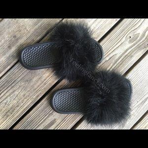 7f371b5076c5e Nike Shoes - Custom Nike Black Faux Fur Slides fuzzy sandals