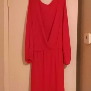 Red dress w/ crossover pleating on front
