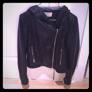 Zara faux leather jacket with hood. Like new!