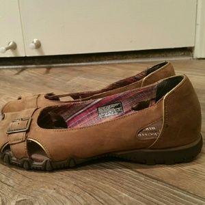 skechers peep toe flats