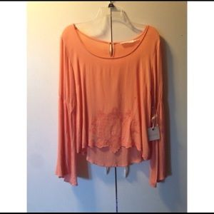 Peachy flared sleeve blouse