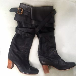 Chloe Shoes - 🎉PARTY SALE ⏰Stacked Heel Buckle Boots