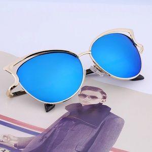 Sexy Cateye Sunglasses Mirror Blue