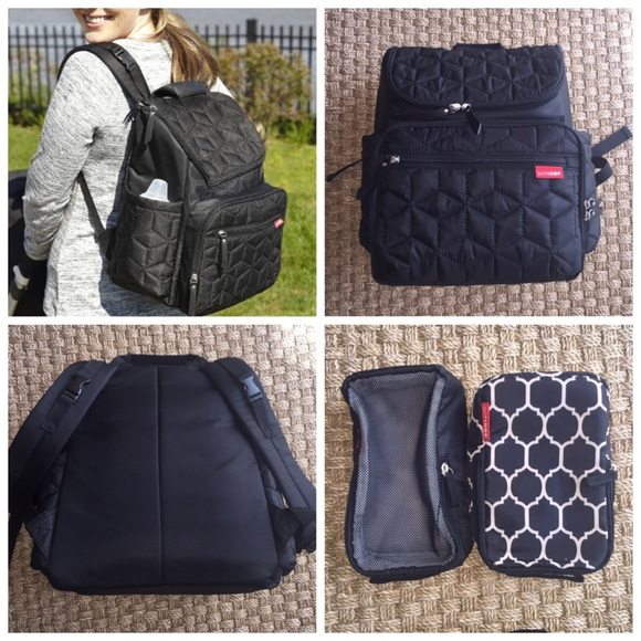 ba5f14cc43 Skip Hop Black Forma Quilted Diaper Backpack. M_572a30464127d02b5e005bd7