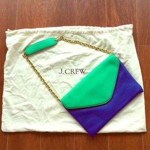 J. Crew blue/green leather fold over clutch