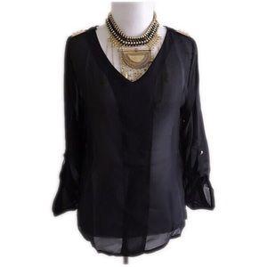 Tops - Brand new sheer black top w/ gold studded shoulder