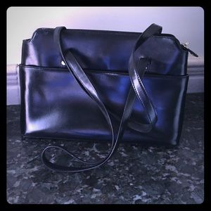 Brooks Brothers Black Leather Tote Purse Briefcase