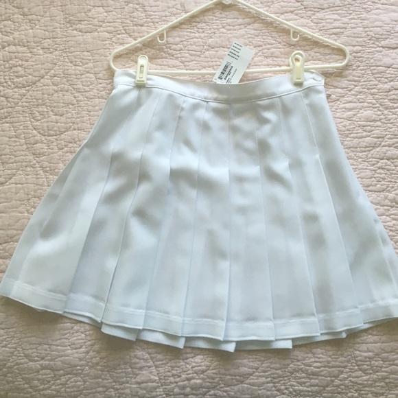 american apparel american apparel white pleated tennis
