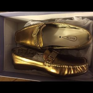Via Appia Due Shoes - Bronze flat very fashionable diamond belt on front